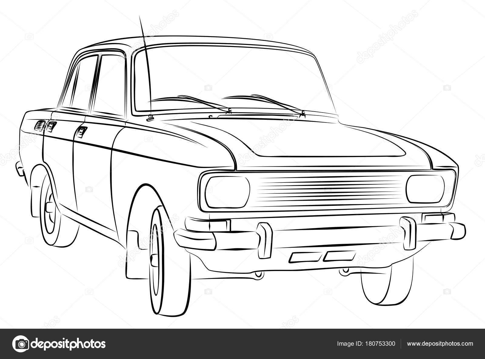 Eine Skizze Des Alten Retro Autos — Stockvektor © Designer_an #180753300