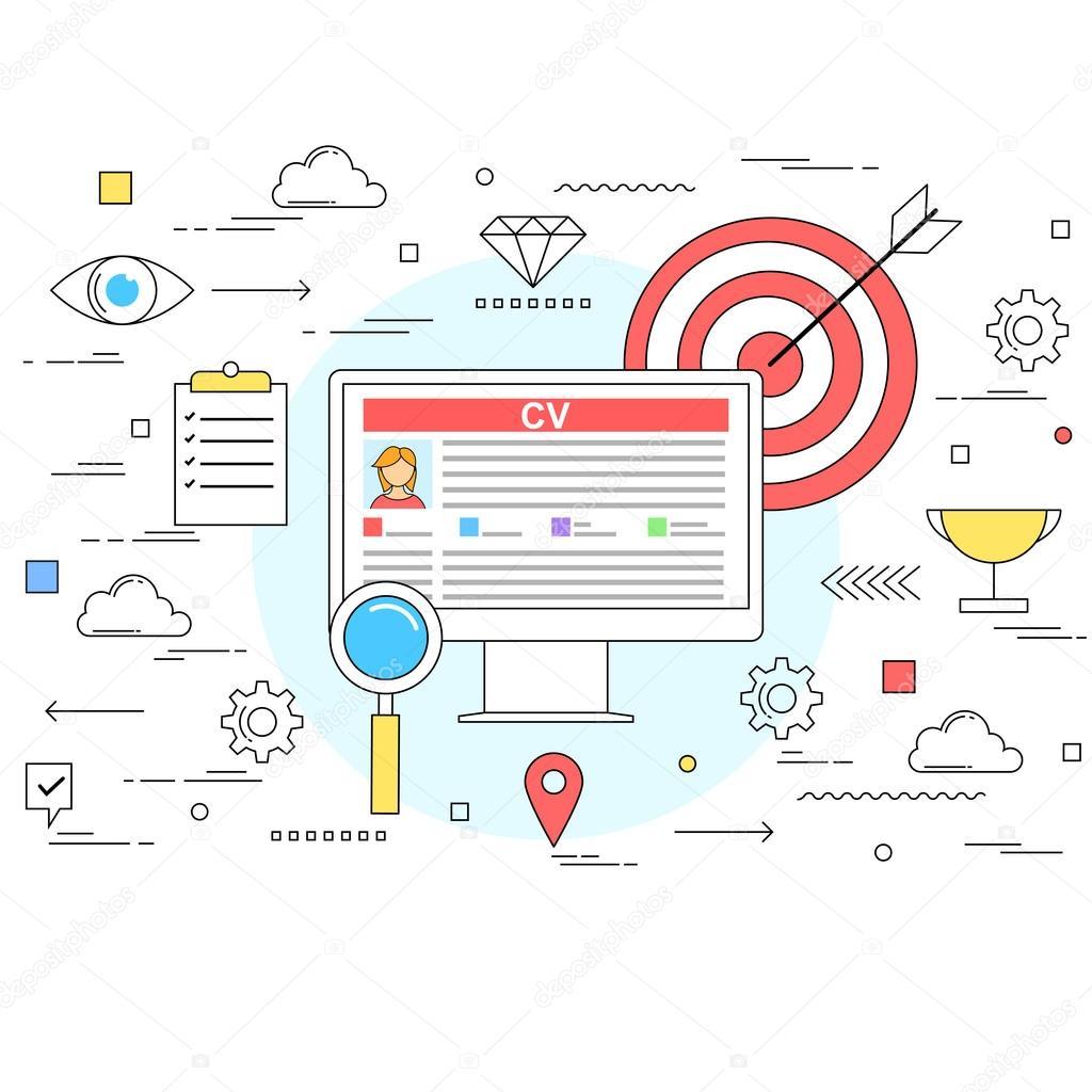 Curriculum vitae en línea y el concepto de Perfil de Cv ilustración ...
