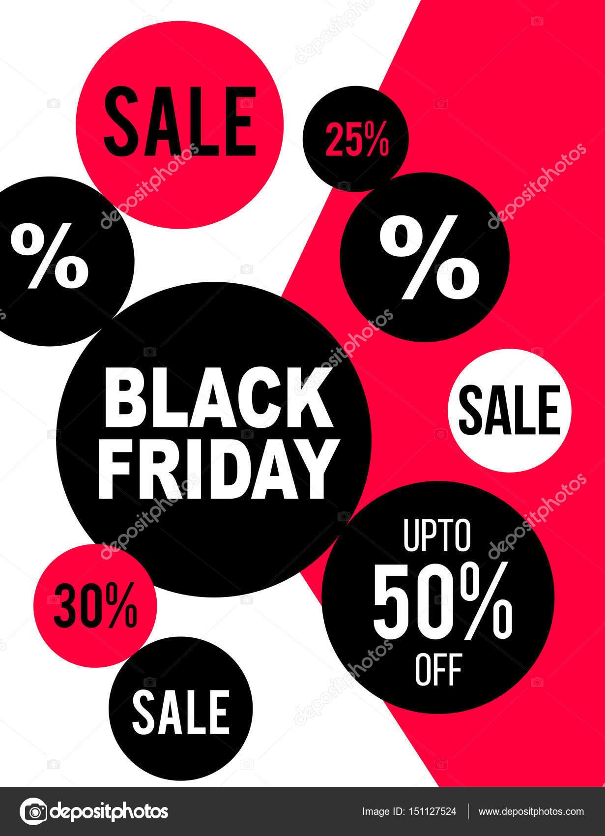 fc501e6be Design de folheto preto sexta-feira em círculos de cor vermelho ...