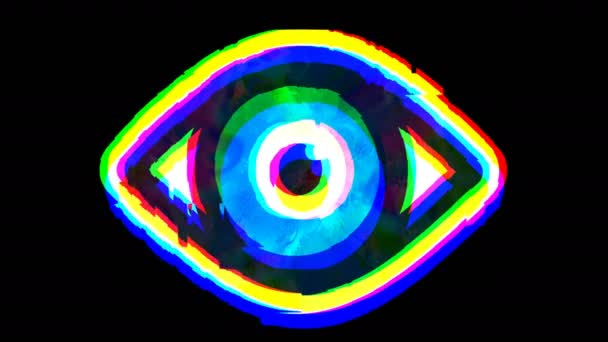 Shimmering vibrating open eye symbol, glitch effect animation lo