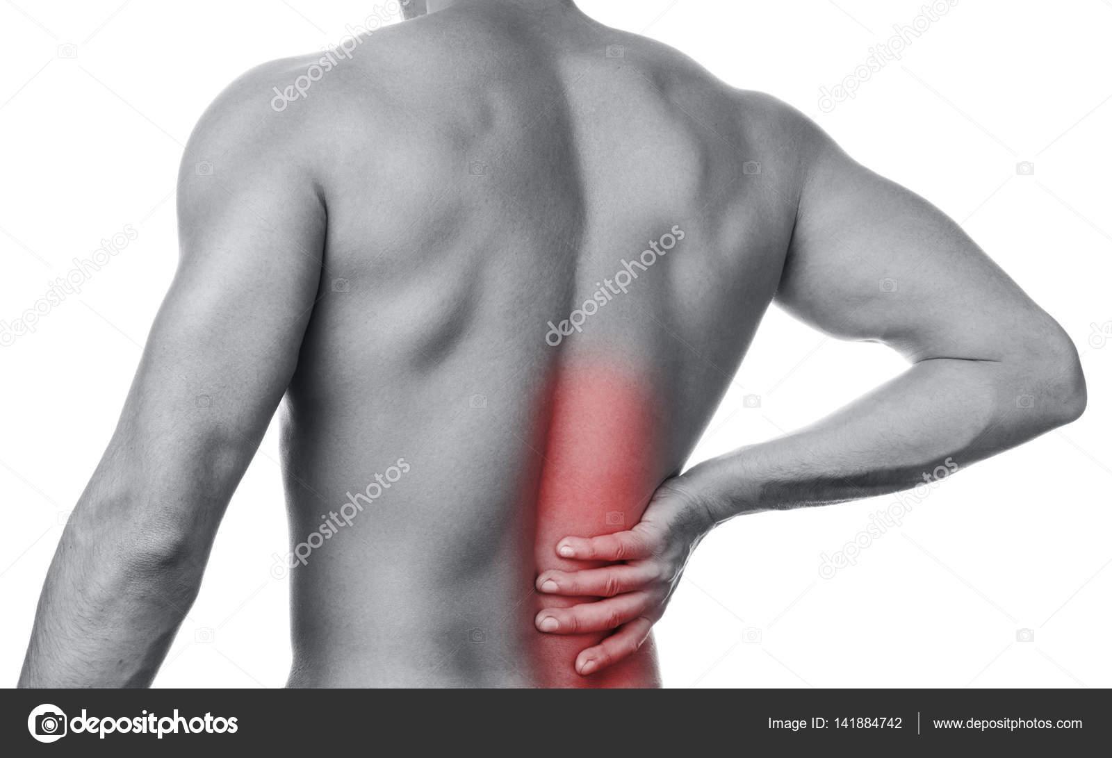 Hombre siente dolor en la parte baja de la espalda — Foto de stock ...