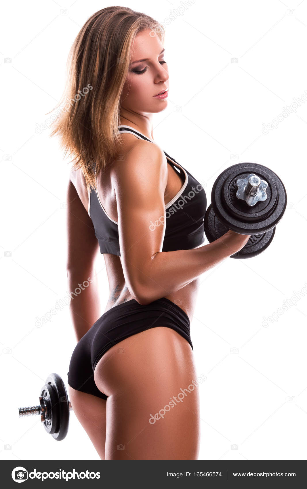 Fille Fitness Photo sexy fitness girl with dumbbells — stock photo © ay_photo #165466574