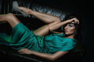 model in beautiful green dress