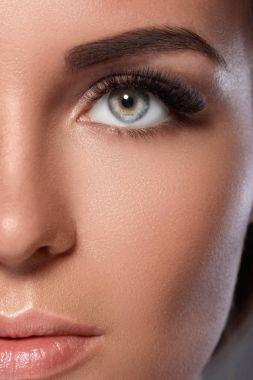 Female face with beautiful eyelashes