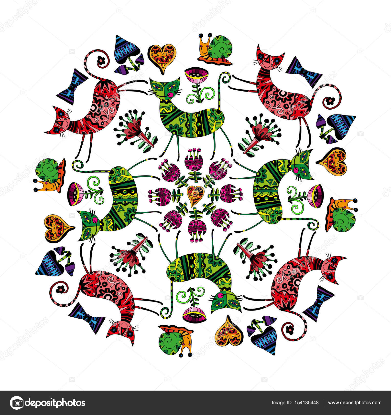 Mandala-Katzen und Blumen — Stockvektor © Счастье #154135448