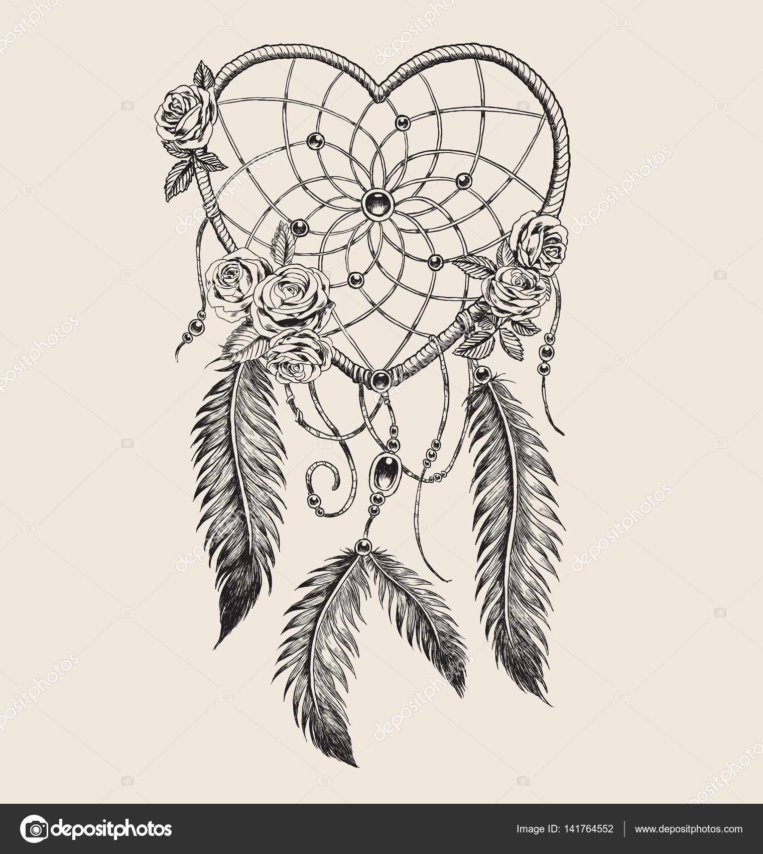 Mano Dibujada En Forma De Atrapasueños De Corazón Vector De Stock