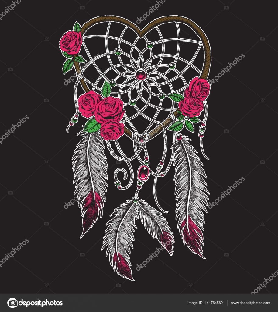 Can Dream Catchers Get Full Hand drawn heart shaped dream catcher in full color Stock Vector 18