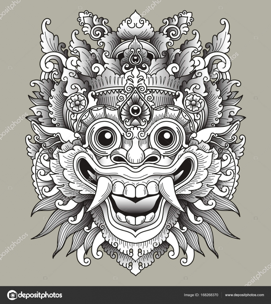 Balinese Barong Traditional Mask Stock Vector C M J H1nkle 168268370