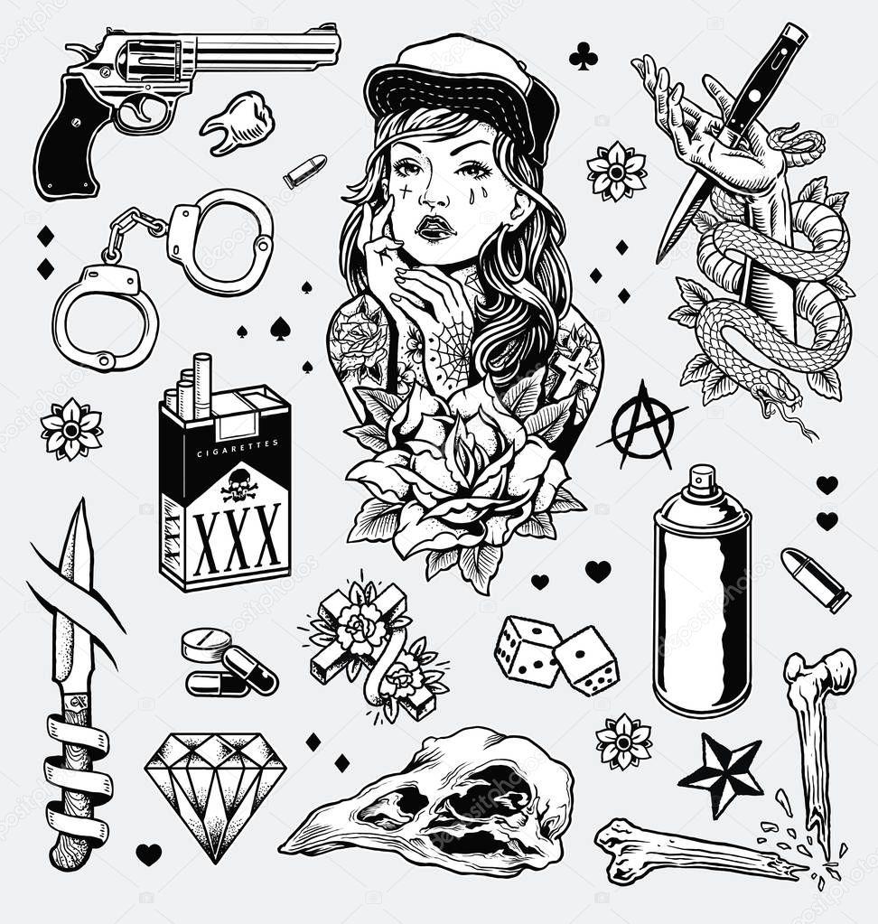 Tattoo Art Black And White: Jeu Flash Tatouage Edgy Noir Blanc