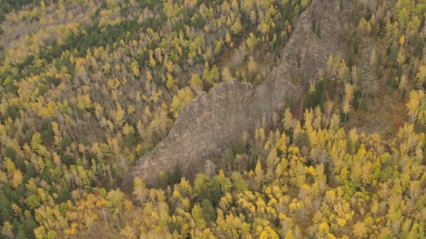 Mountain landscape in the Siberian nature reserve Stolby in autumn.
