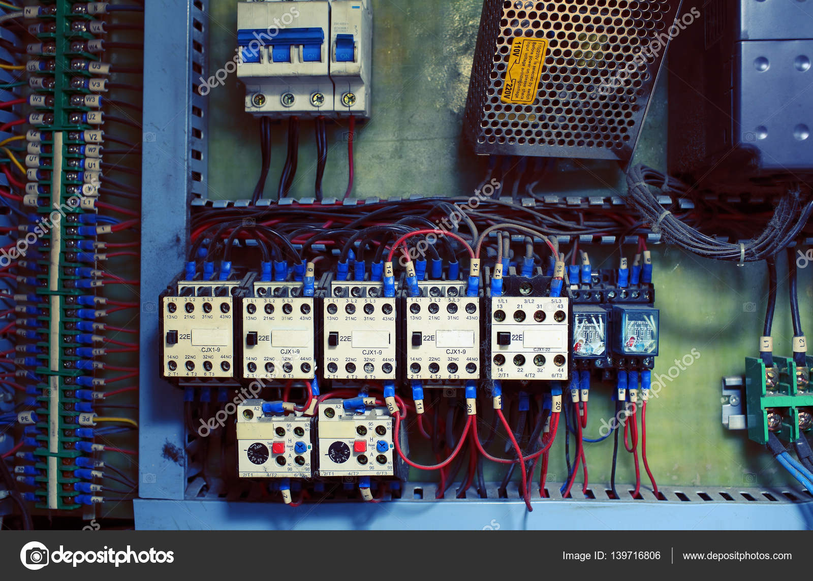 Old Electric Distribution Block With Knife Switches And Wires C 3 Switch Wiring Stock Photo