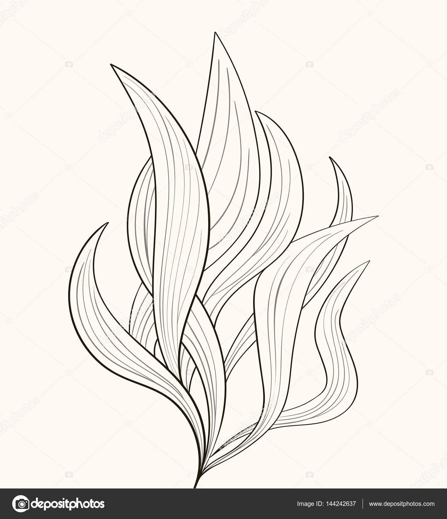 Fire Flames Or Abstract Plant Stock Vector C Sudok1 144242637
