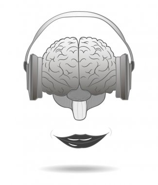 Enjoying music concept. Human brain with a smile when listening