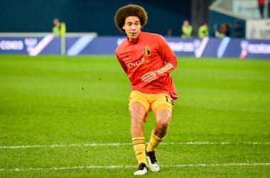 SAINT-PETERSBURG, RUSSIA - November 16, 2019: Axel Witsel Belgium national football team training session during UEFA EURO 2020 qualifying match between Russia against Belgium, Russia