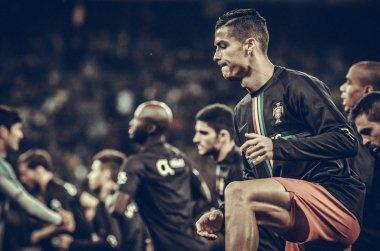 KYIV, UKRAINE - October 14, 2019: Cristiano Ronaldo and training session during the UEFA EURO 2020 qualifying match between Ukraine against Portugal national team, Ukraine