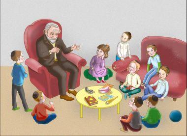 Jewish children with a rabbi