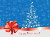 Neues Jahr, wirkungsvolles Luxusbanner mit Schleife und Schneeflocken