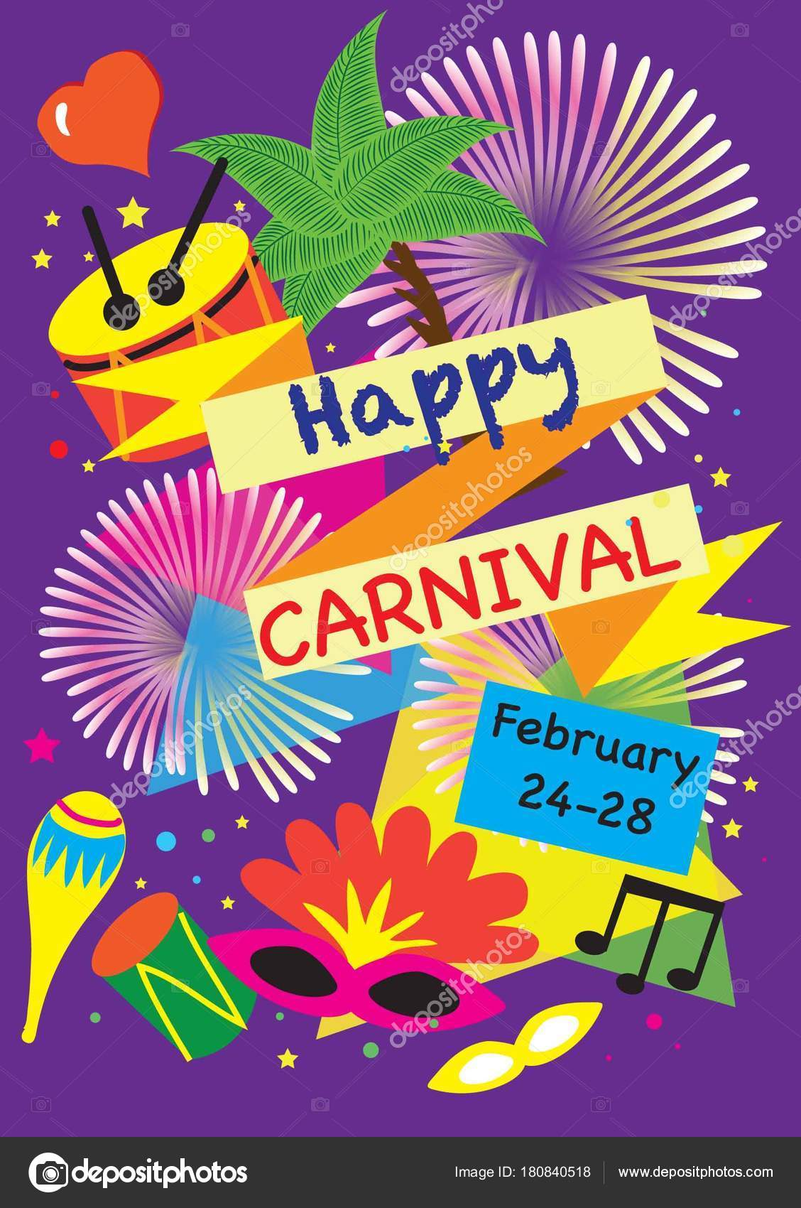 carnival festive posters vector bright confetti fireworks