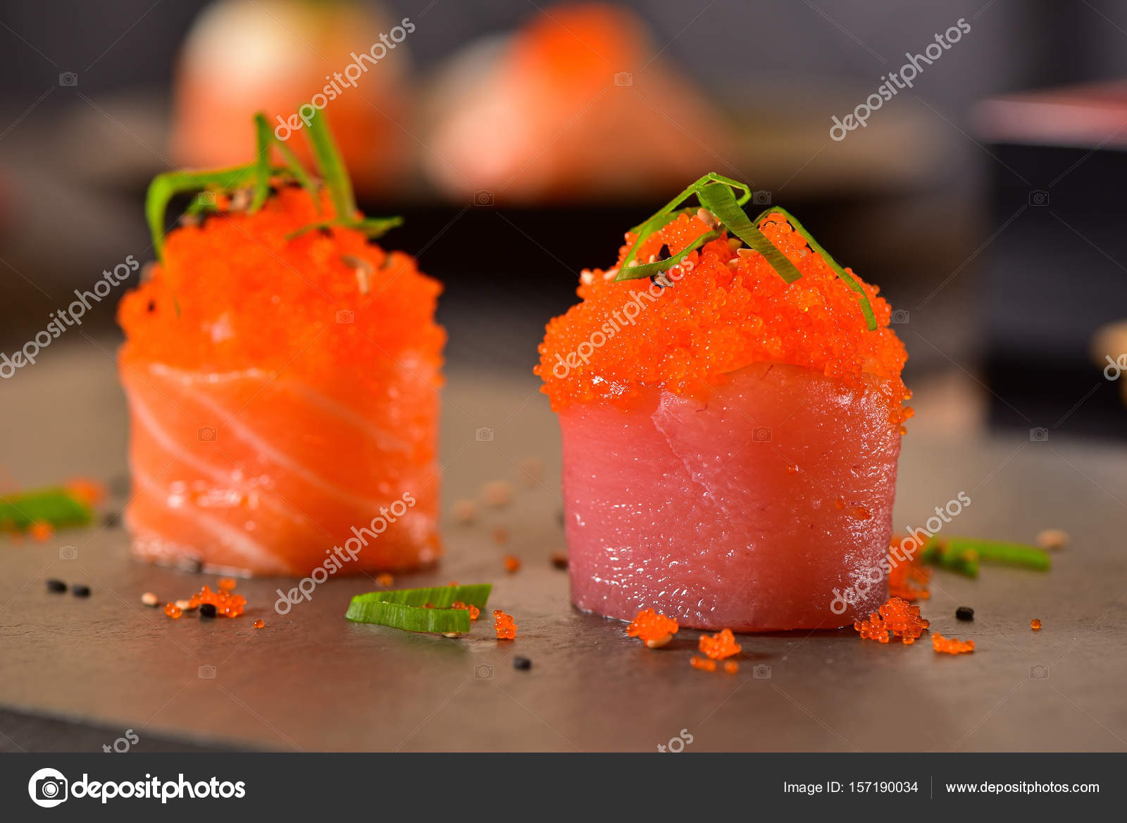 Salmon eggs sushi — Stock Photo © MKPK #157190034