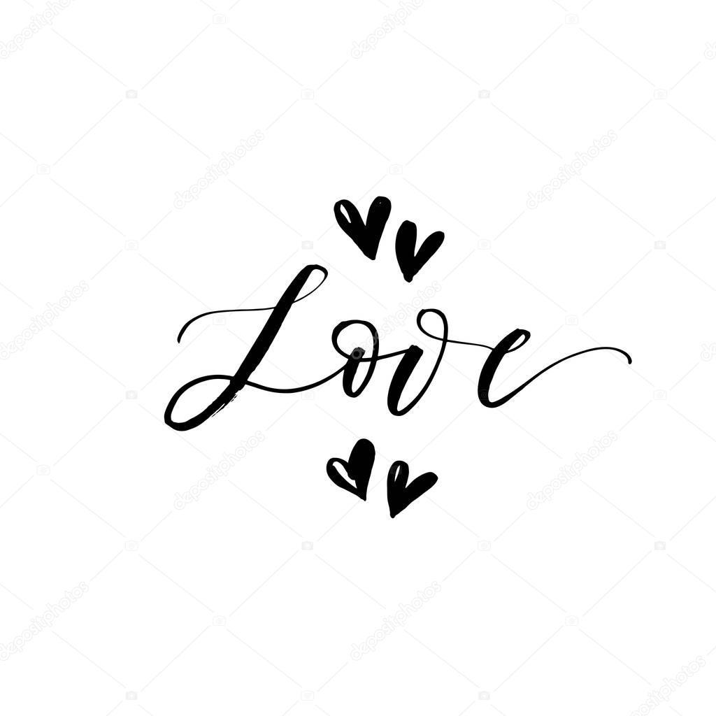 Frases De Amor En Caligrafia Frase De Amor Con Corazones Vector