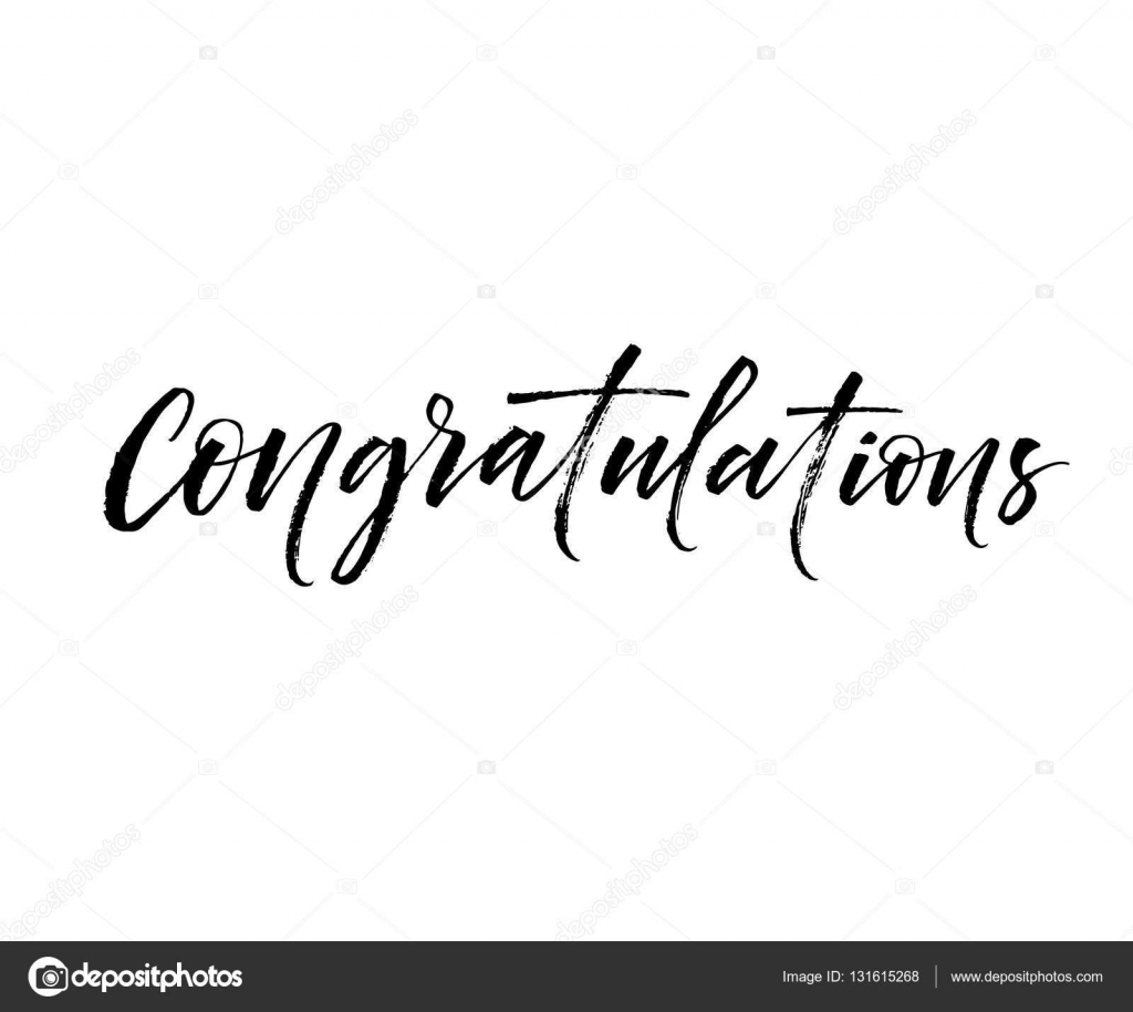 Congratulations card modern brush calligraphy — stock