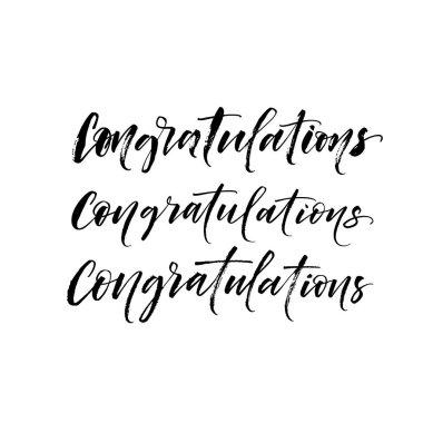 Three variation of congratulations phrases.
