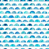 Photo Watercolor seamless pattern with semi circles. Geometric background. Ornament for wrapping paper. Hand drawn watercolor decor.