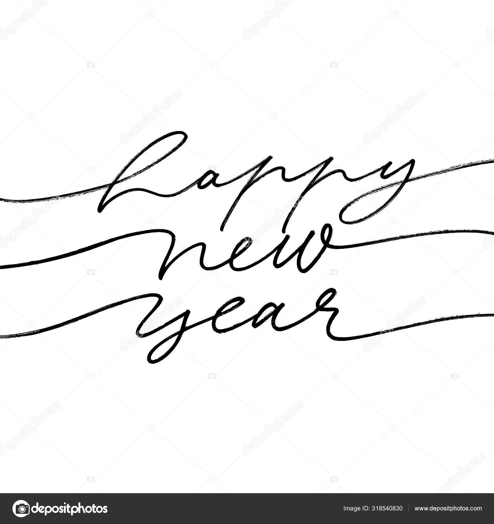 Feliz Frase Caligrafía De Año Nuevo 2020 Feliz Inscripción