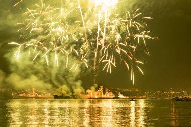 Fireworks over Russian Navy fleet during Victory Day celebrations, Sevastopol Bay, Crimea stock vector