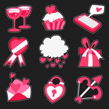 Happy Valentine's Day pack of love stickers, Valentines labels set. icon