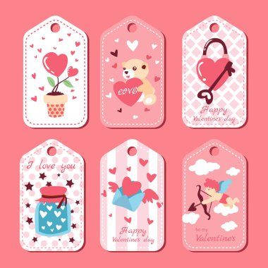 Pack of love tags, Valentines labels set. icon