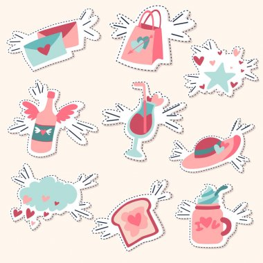 Pack of love stickers, Valentines labels set. icon
