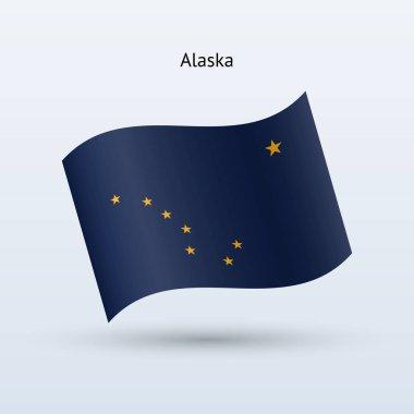 State of Alaska flag waving form. Vector illustration.