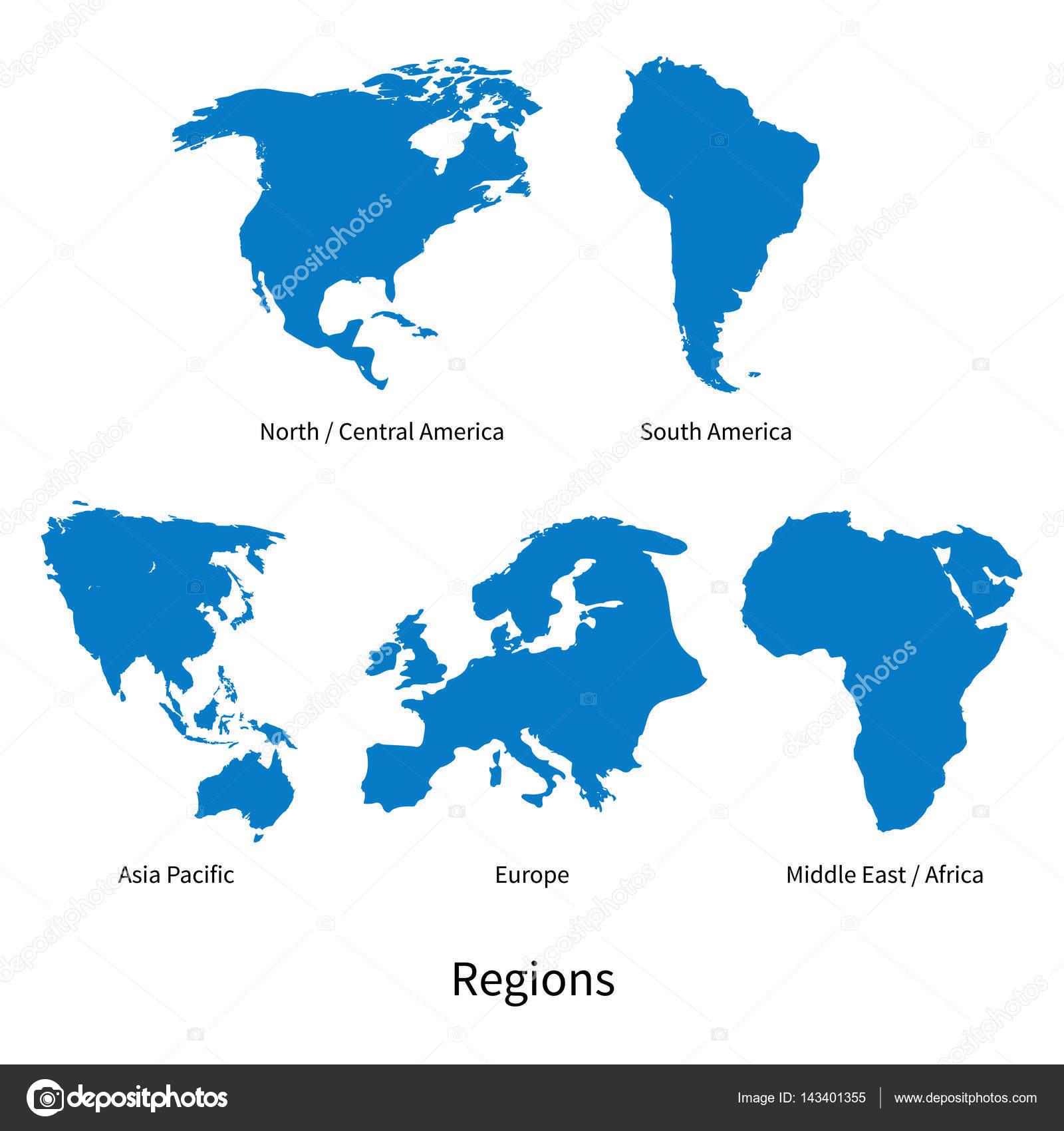 Free Vector Map Of North America.Detailed Vector Map Of North Central America Asia Pacific Europe