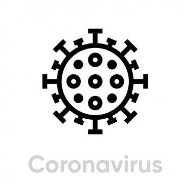 Coronavirus, Danger Virus vector editable line stock vector
