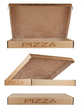 Set of three cardboard pizza boxes from different angles with the inscription PIZZA, isolated on a white background. One closed and two open. Concept: biodegradable packaging, recyclable products.