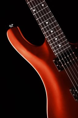 red elctric guitar close up