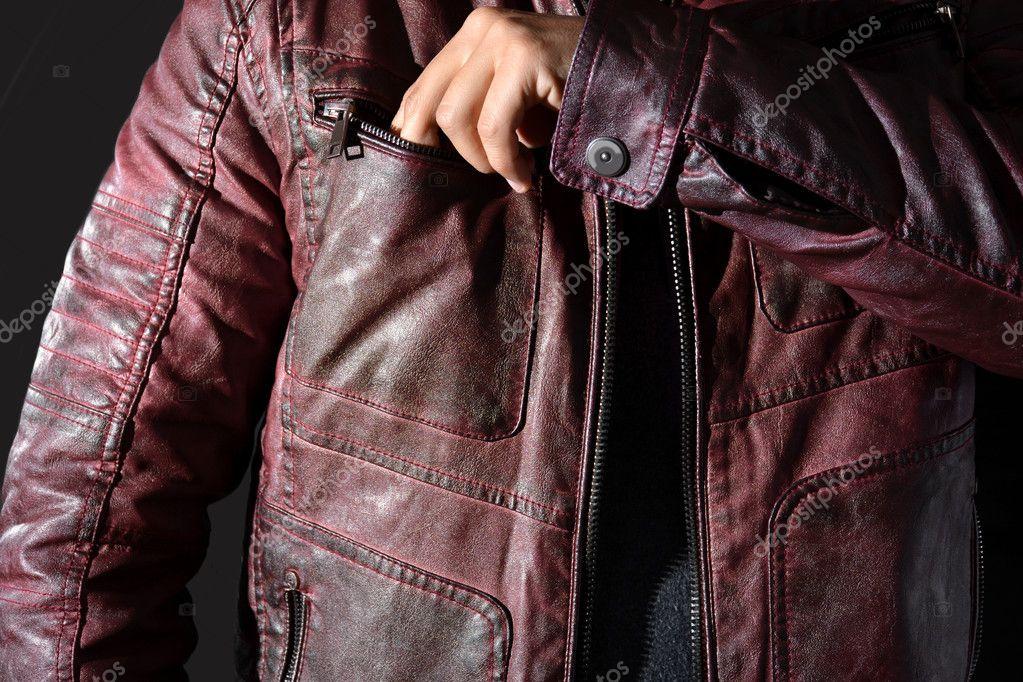 Herren Für Moderne — Stockfoto Rote Lederjacke N0Pvmw8ynO