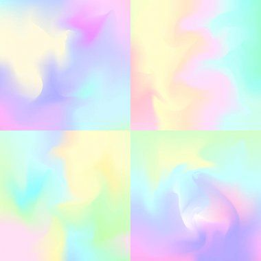 Set of 4 pastel rainbow backgrounds, hologram inspired abstract