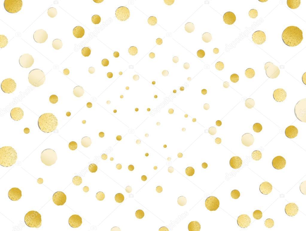 Scattered Shiny Golden Glitter Polka Dot Background Gold