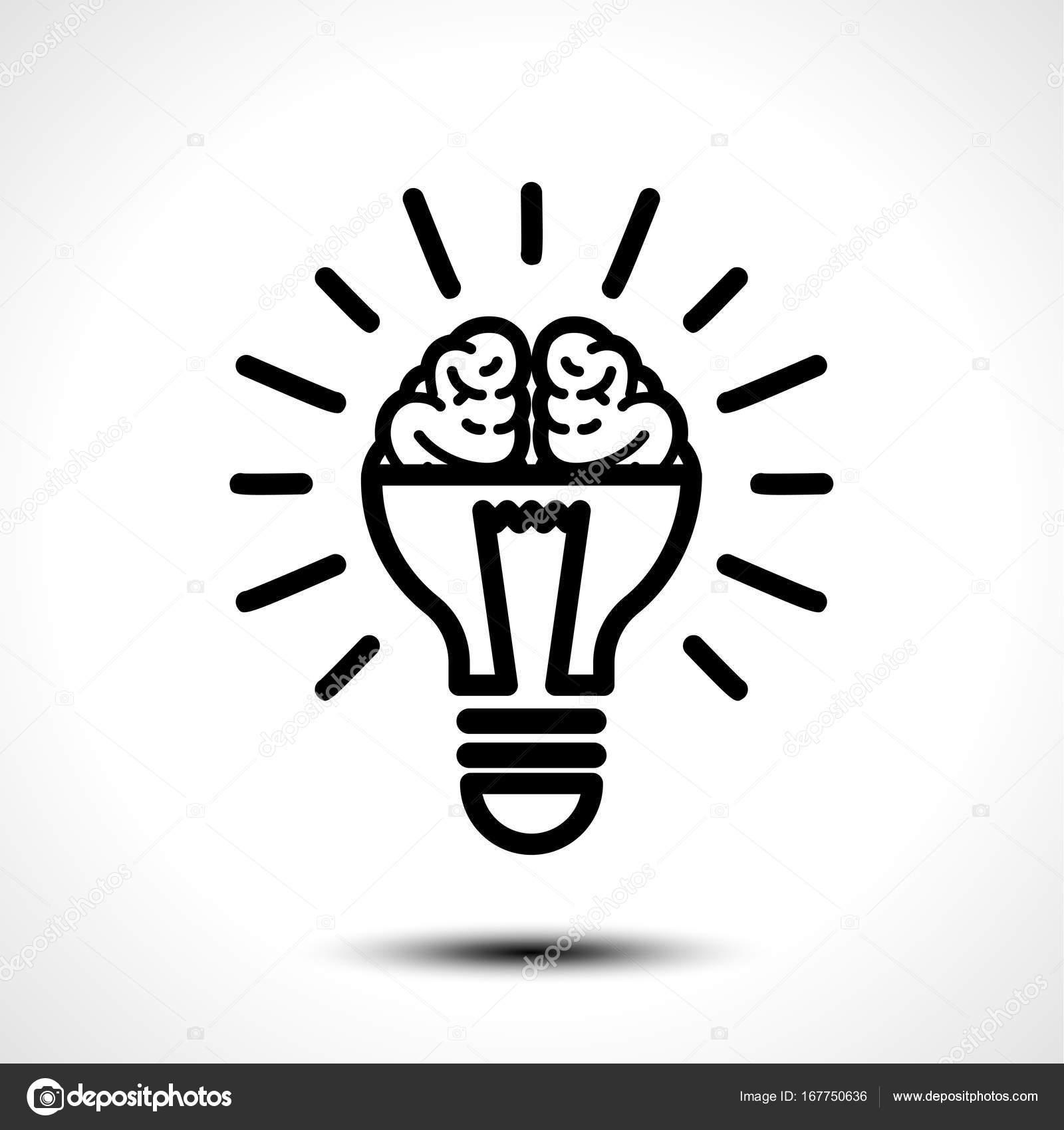 Logo with a half of light bulb and brain isolated on white logo with a half of light bulb and brain isolated on white background symbol of creativity creative idea mind thinking vector illustration biocorpaavc