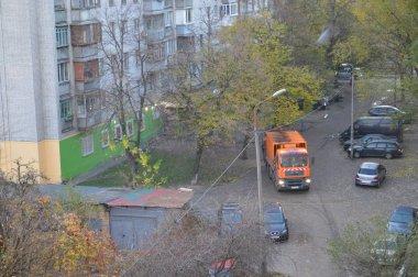 KIEV, UKRAINE - NOVEMBER 6, 2019: Garbage collection in the city
