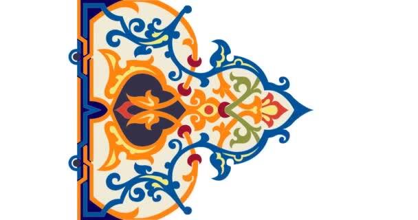 Dynamická barevná přechodová animace s perskou nebo arabskou ozdobou koberce. Video 4k