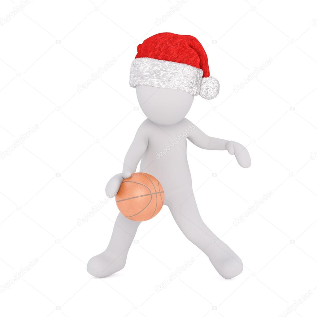 Little 3D character in santa hat