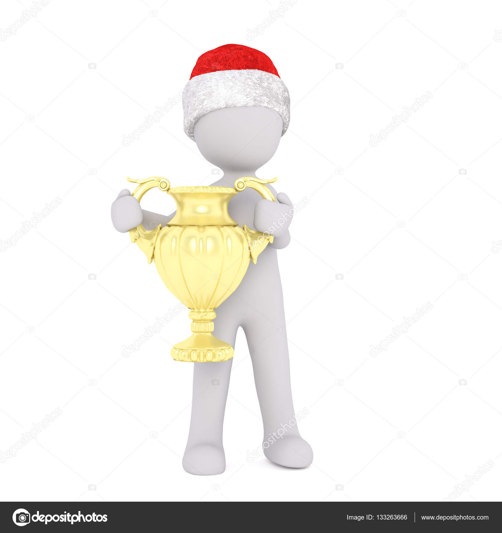 7655c346f0573 3d man holding up a gold winners trophy or cup after winning a competition  or race while wearing a red Christmas hat