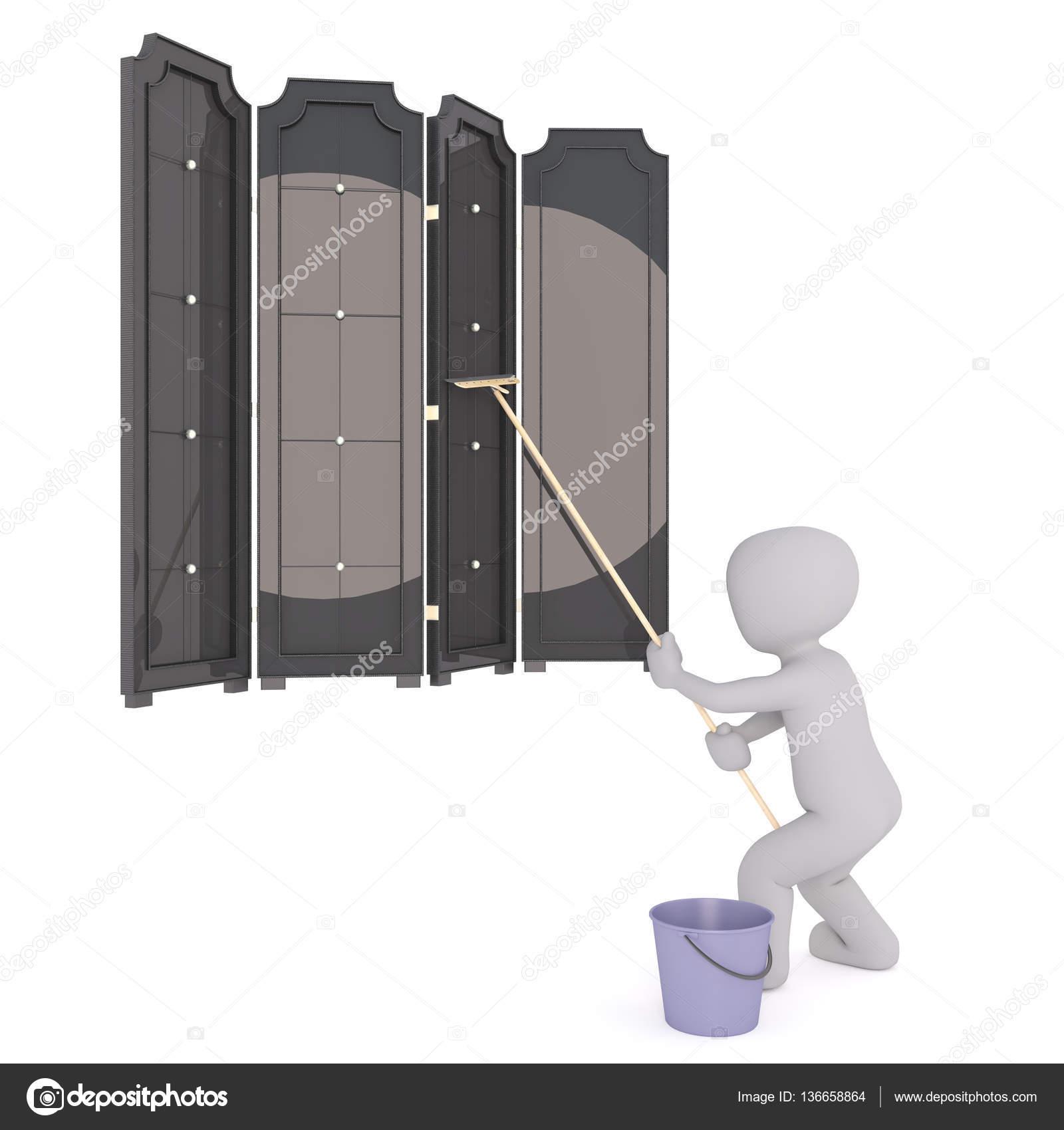 Dessin Animé Laveur De Vitres Nettoyage Grandes Fenêtres