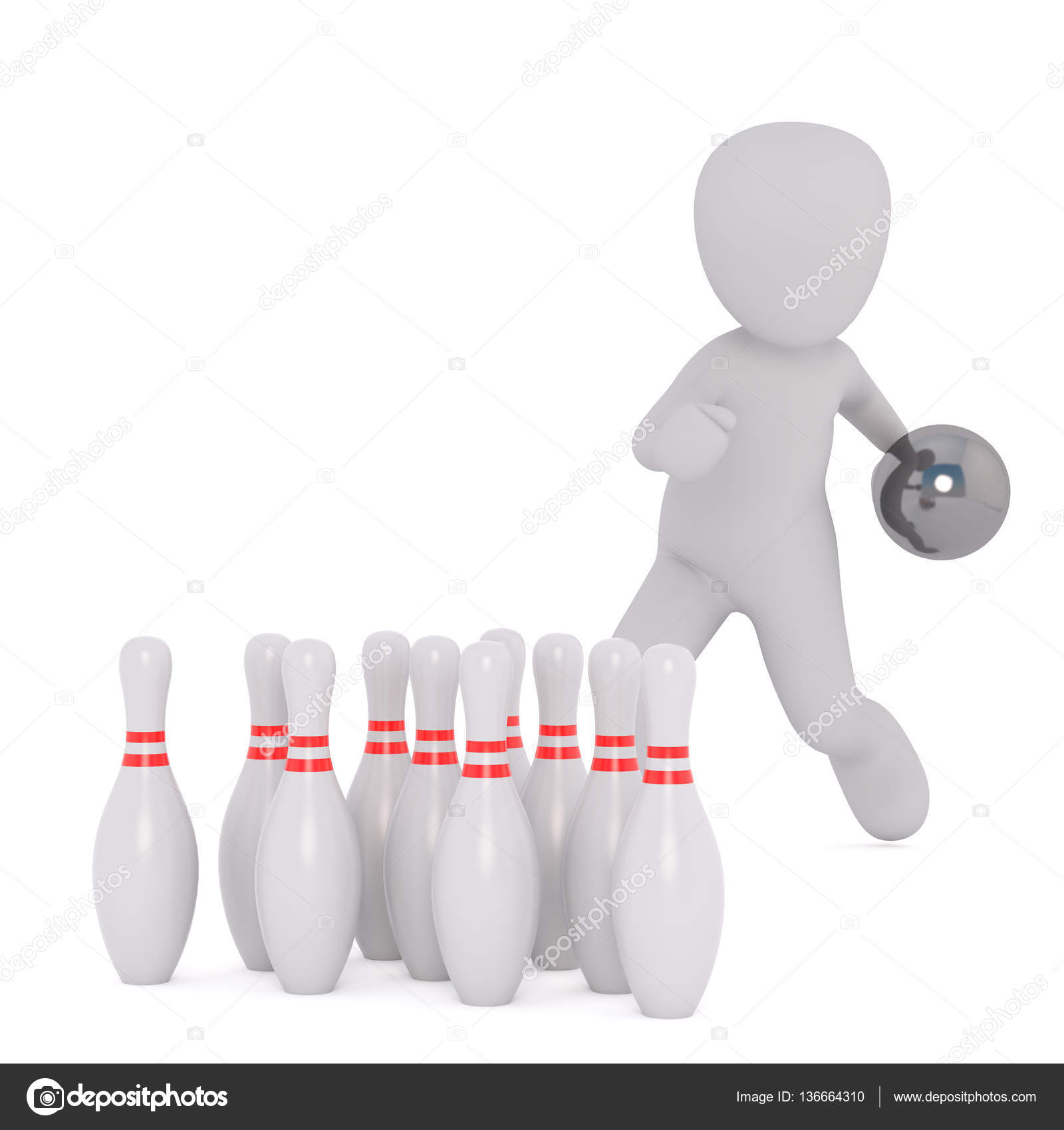 Cartoon Figure Tossing Bowling Ball Toward Pins — Stock