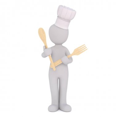 Incognito cartoon cook with spoon and fork