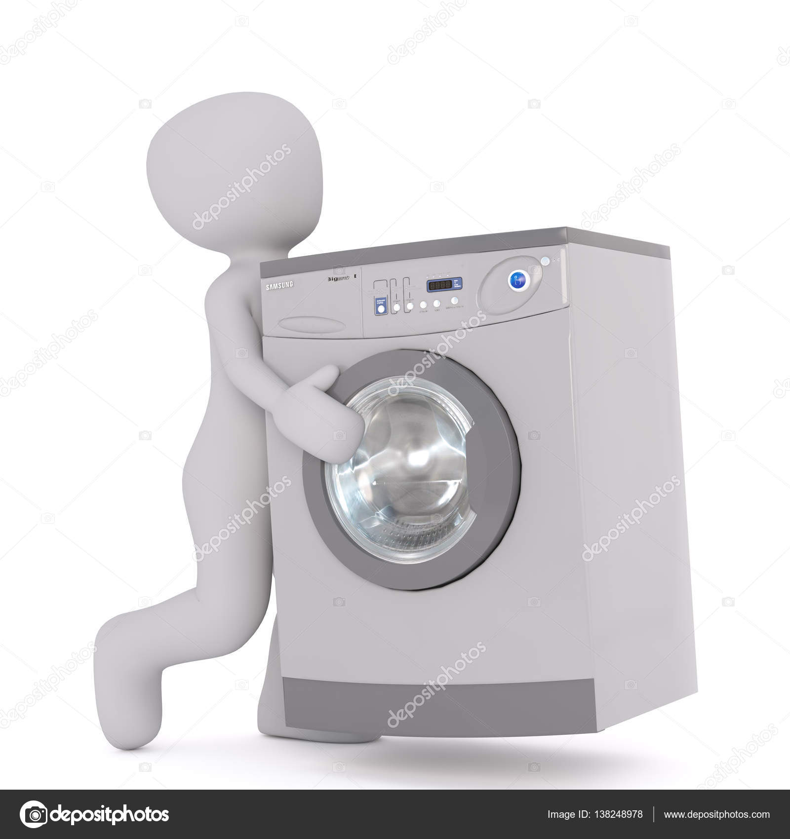 Moderne Waschmaschine figur tragen moderne waschmaschine stockfoto 3d agentur