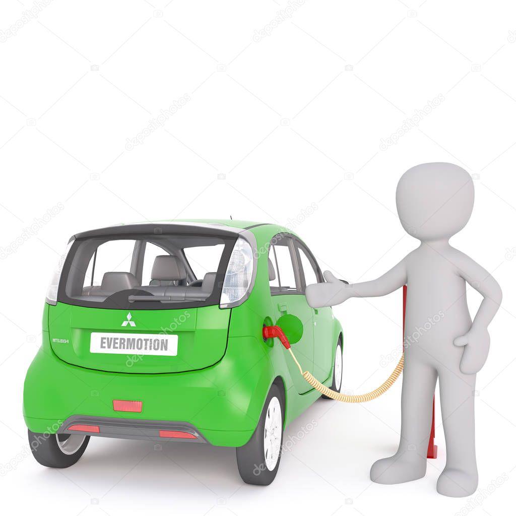 Cartone animato cenno alla auto elettrica durante la